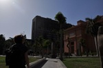 Egyptian Museum with the burnt-out Mubarak government building next door